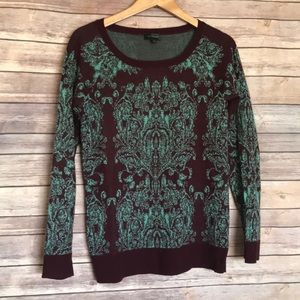 The Limited wine maroon teal printed sweater